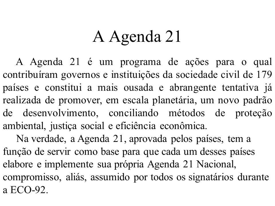 A Agenda 21 A Agenda 21 é um programa de ações para o qual contribuíram governos e instituições da sociedade civil de 179 países e constitui a mais ousada e abrangente tentativa já realizada de promover, em escala planetária, um novo padrão de desenvolvimento, conciliando métodos de proteção ambiental, justiça social e eficiência econômica.