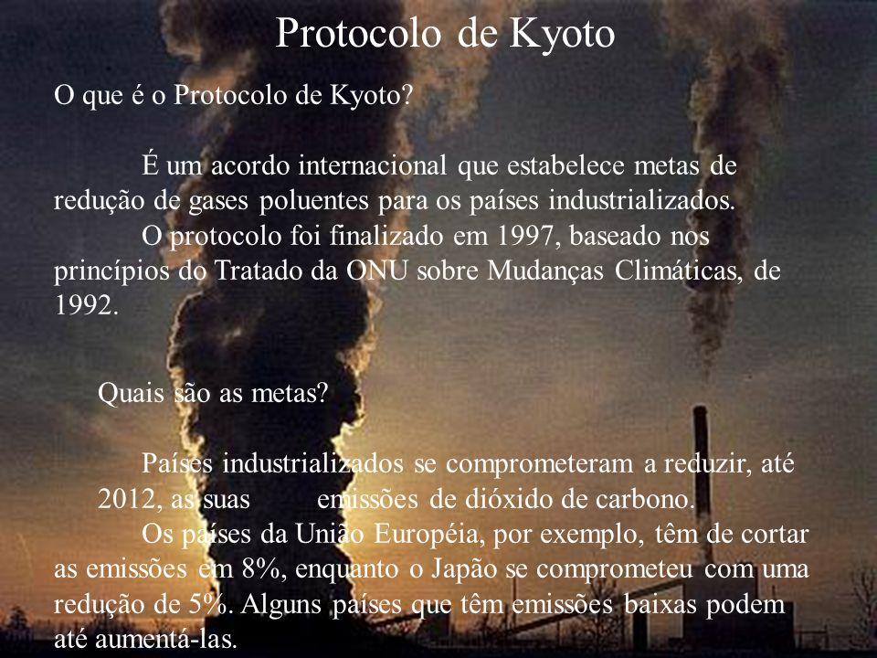 Protocolo de Kyoto O que é o Protocolo de Kyoto? É um acordo internacional que estabelece metas de redução de gases poluentes para os países industria