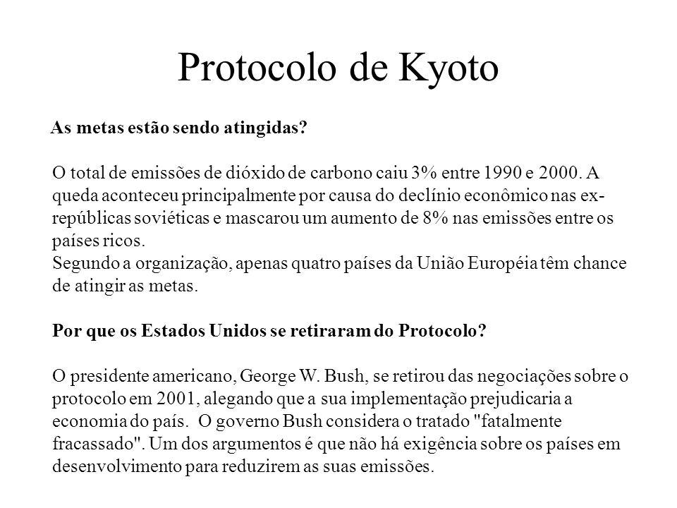 Protocolo de Kyoto As metas estão sendo atingidas? O total de emissões de dióxido de carbono caiu 3% entre 1990 e 2000. A queda aconteceu principalmen