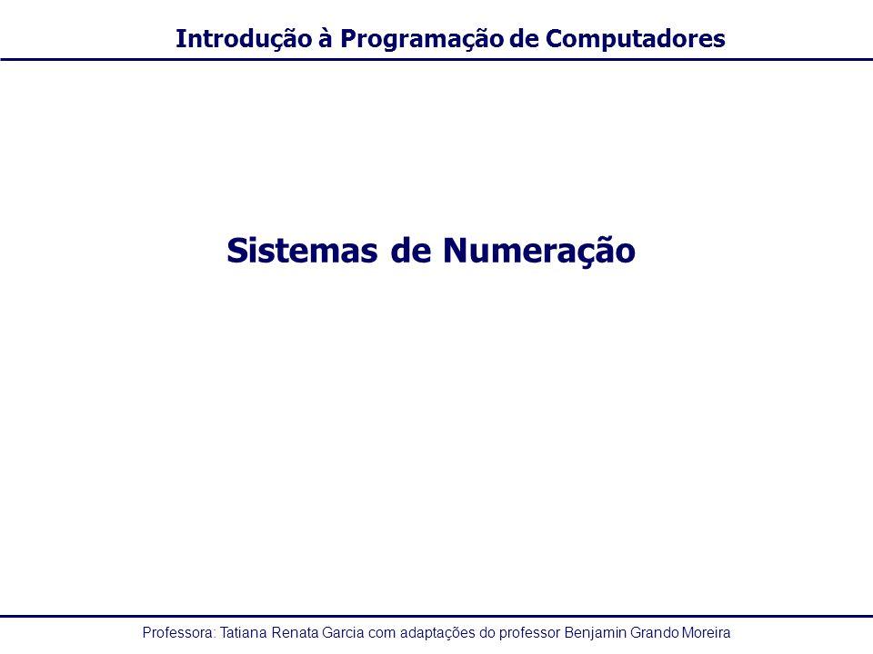Professora: Tatiana Renata Garcia com adaptações do professor Benjamin Grando Moreira Introdução à Programação de Computadores Sistemas de Numeração