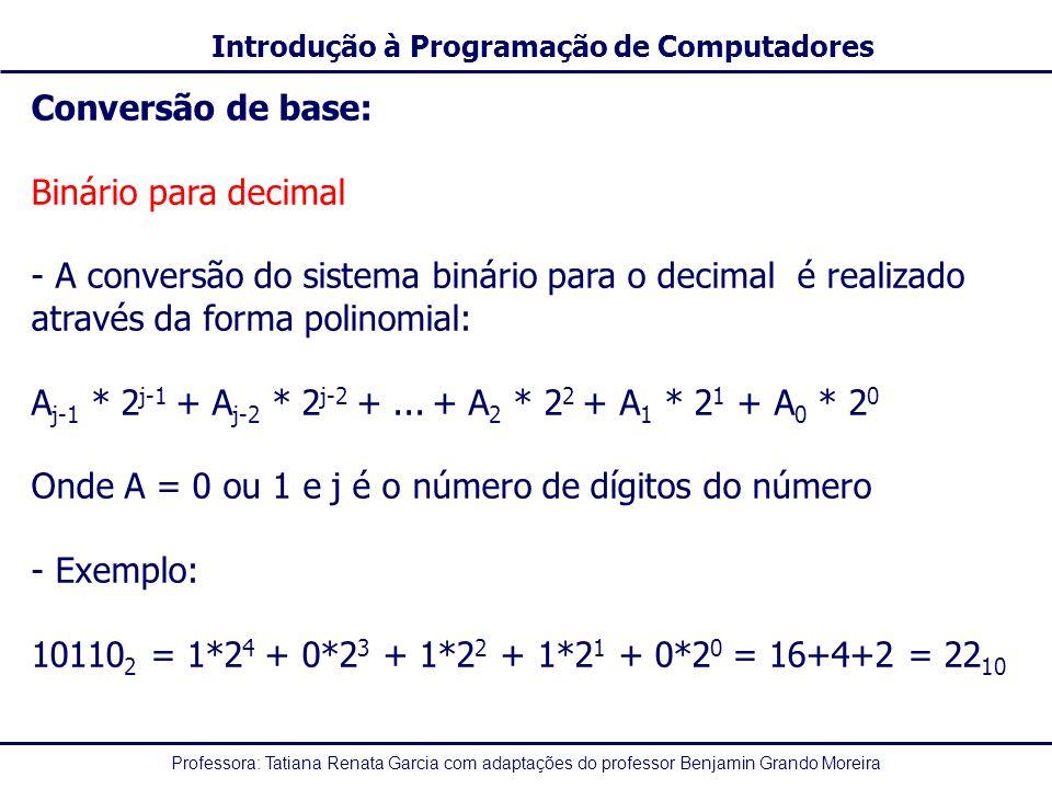 Professora: Tatiana Renata Garcia com adaptações do professor Benjamin Grando Moreira Introdução à Programação de Computadores Conversão de base: Biná