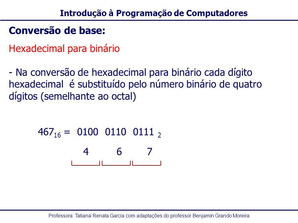 Professora: Tatiana Renata Garcia com adaptações do professor Benjamin Grando Moreira Introdução à Programação de Computadores Conversão de base: Hexa