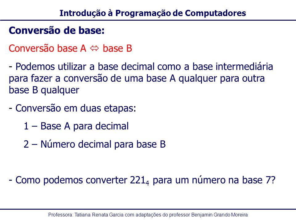 Professora: Tatiana Renata Garcia com adaptações do professor Benjamin Grando Moreira Introdução à Programação de Computadores Conversão de base: Conv