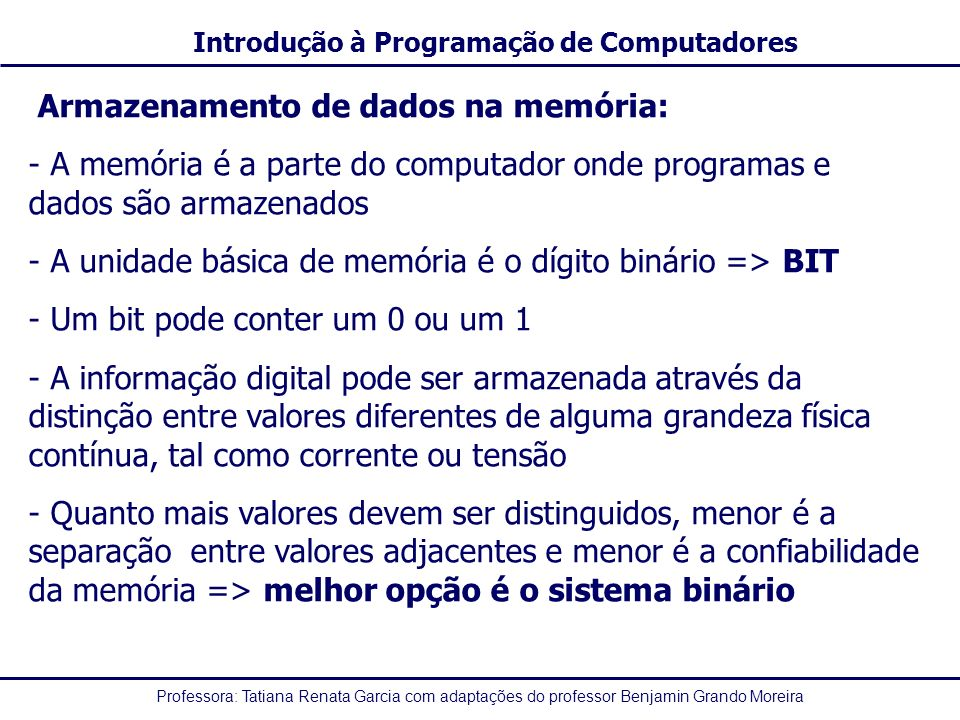 Professora: Tatiana Renata Garcia com adaptações do professor Benjamin Grando Moreira Introdução à Programação de Computadores Armazenamento de dados