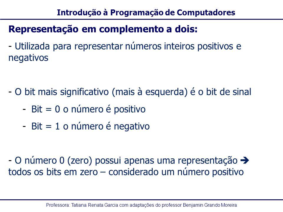 Professora: Tatiana Renata Garcia com adaptações do professor Benjamin Grando Moreira Introdução à Programação de Computadores Representação em comple