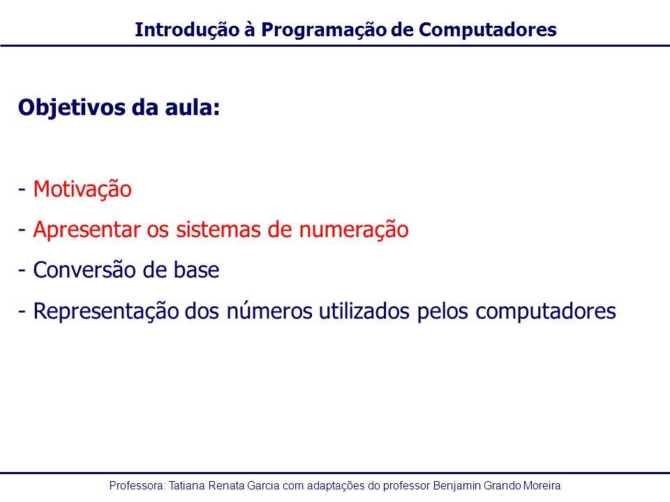 Professora: Tatiana Renata Garcia com adaptações do professor Benjamin Grando Moreira Introdução à Programação de Computadores Objetivos da aula: - Mo