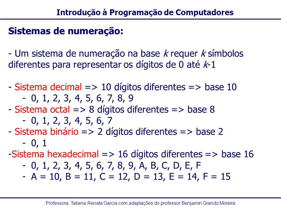 Professora: Tatiana Renata Garcia com adaptações do professor Benjamin Grando Moreira Introdução à Programação de Computadores Sistemas de numeração: