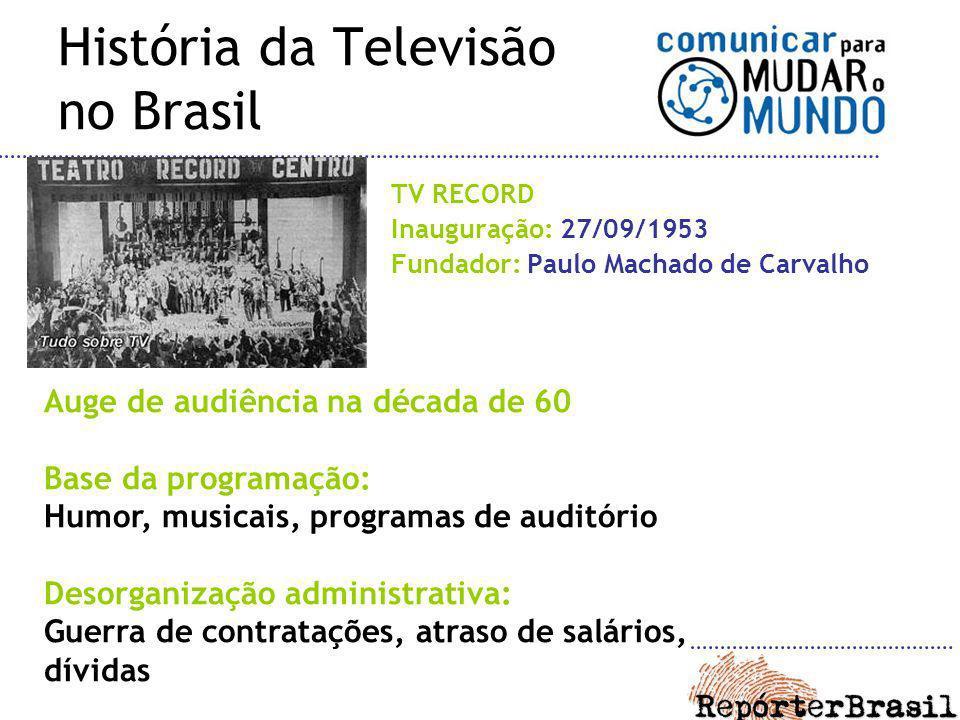 História da Televisão no Brasil TV RECORD Inauguração: 27/09/1953 Fundador: Paulo Machado de Carvalho Auge de audiência na década de 60 Base da progra