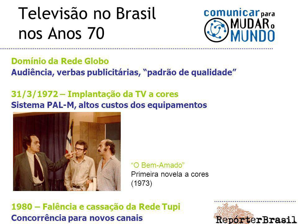 Televisão no Brasil nos Anos 70 Domínio da Rede Globo Audiência, verbas publicitárias, padrão de qualidade 31/3/1972 – Implantação da TV a cores Siste