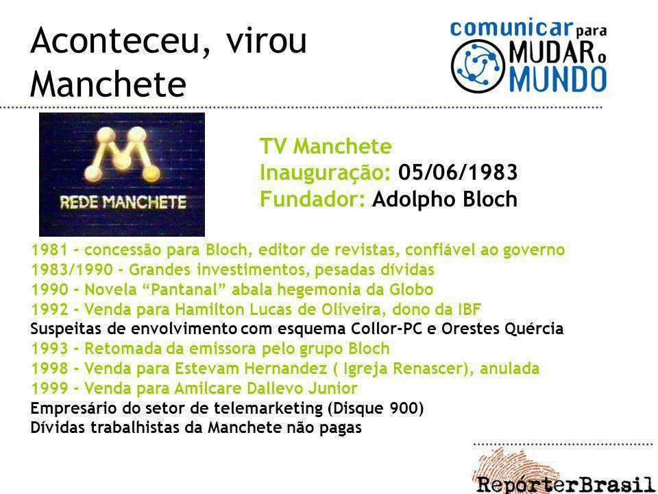 TV Manchete Inauguração: 05/06/1983 Fundador: Adolpho Bloch 1981 - concessão para Bloch, editor de revistas, confiável ao governo 1983/1990 - Grandes