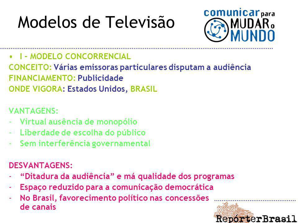 Modelos de Televisão I – MODELO CONCORRENCIAL CONCEITO: Várias emissoras particulares disputam a audiência FINANCIAMENTO: Publicidade ONDE VIGORA: Est