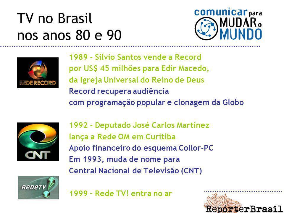 TV no Brasil nos anos 80 e 90 1989 - Silvio Santos vende a Record por US$ 45 milhões para Edir Macedo, da Igreja Universal do Reino de Deus Record rec