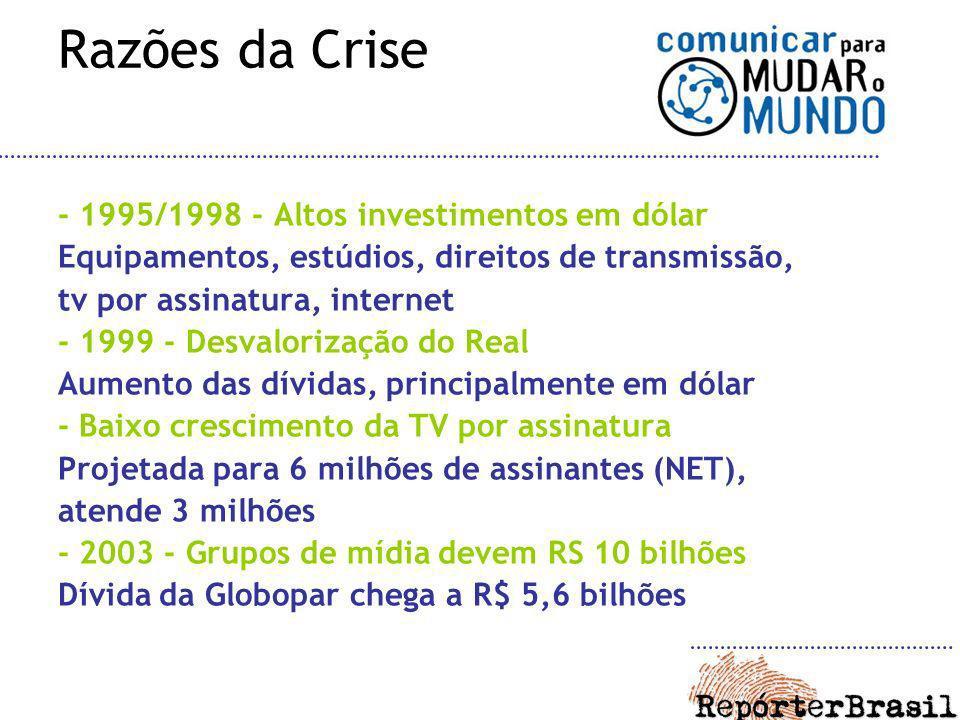Razões da Crise - 1995/1998 - Altos investimentos em dólar Equipamentos, estúdios, direitos de transmissão, tv por assinatura, internet - 1999 - Desva