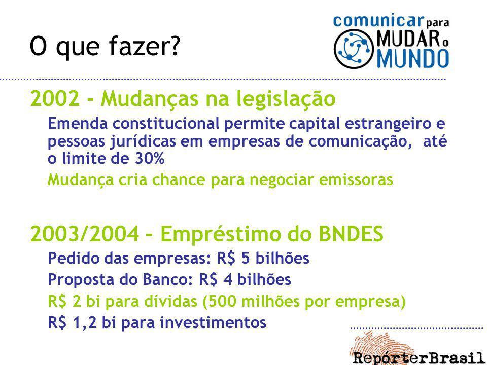 O que fazer? 2002 - Mudanças na legislação Emenda constitucional permite capital estrangeiro e pessoas jurídicas em empresas de comunicação, até o lim