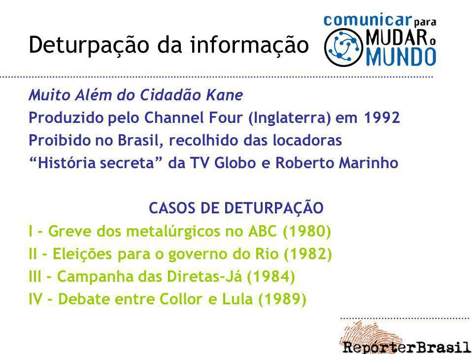 Deturpação da informação Muito Além do Cidadão Kane Produzido pelo Channel Four (Inglaterra) em 1992 Proibido no Brasil, recolhido das locadoras Histó