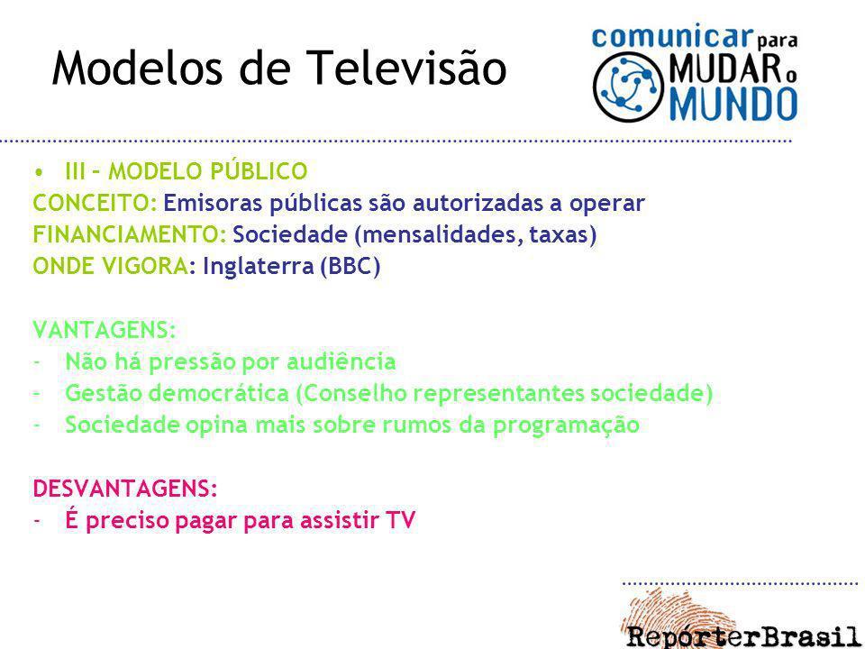 Modelos de Televisão III – MODELO PÚBLICO CONCEITO: Emisoras públicas são autorizadas a operar FINANCIAMENTO: Sociedade (mensalidades, taxas) ONDE VIG