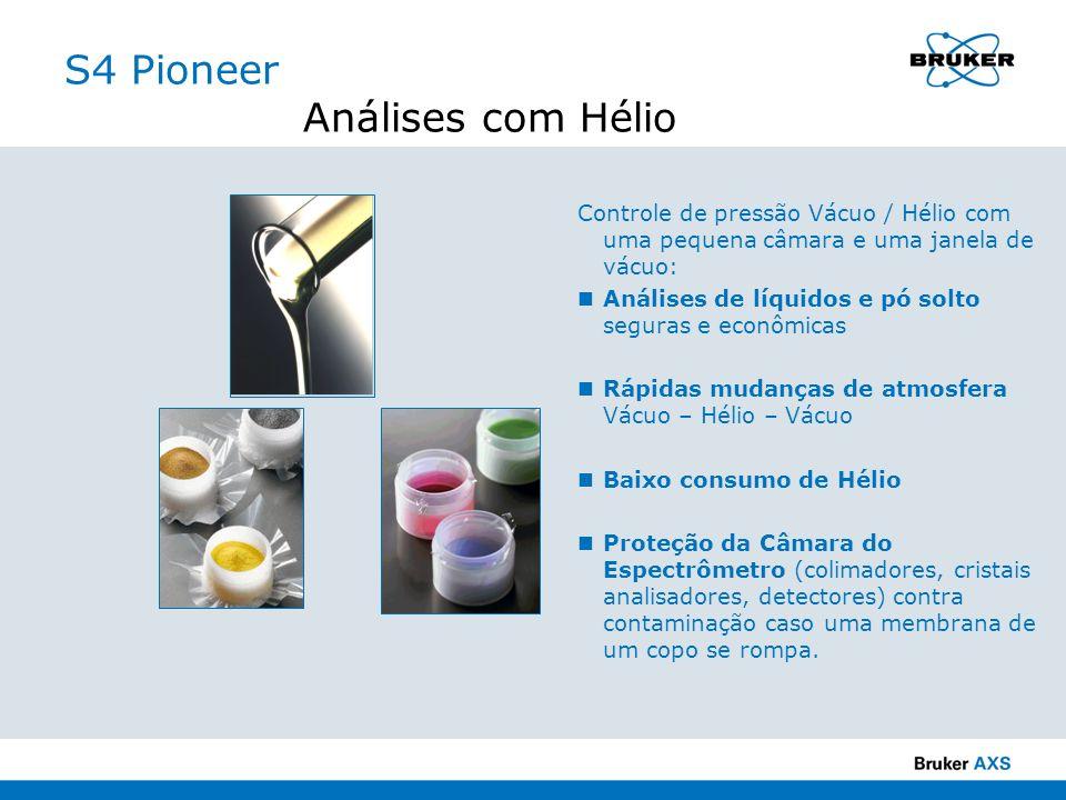 S4 Pioneer Análises com Hélio Controle de pressão Vácuo / Hélio com uma pequena câmara e uma janela de vácuo: Análises de líquidos e pó solto seguras