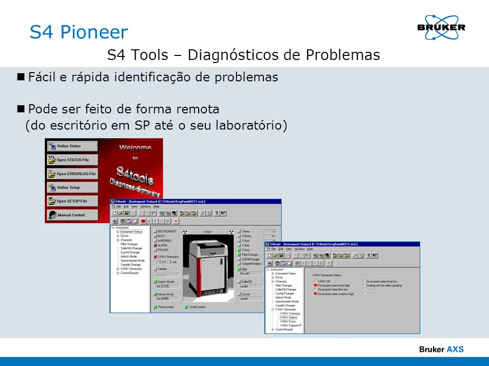 S4 Pioneer S4 Tools – Diagnósticos de Problemas Fácil e rápida identificação de problemas Pode ser feito de forma remota (do escritório em SP até o se