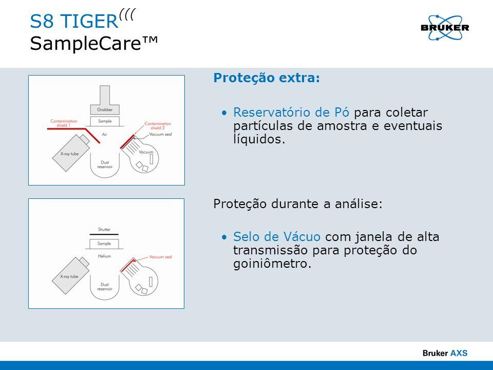 S8 TIGER ((( SampleCare Proteção extra: Reservatório de Pó para coletar partículas de amostra e eventuais líquidos. Proteção durante a análise: Selo d