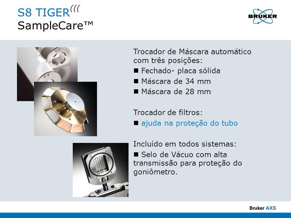 S8 TIGER ((( SampleCare Trocador de Máscara automático com três posições: Fechado- placa sólida Máscara de 34 mm Máscara de 28 mm Trocador de filtros: