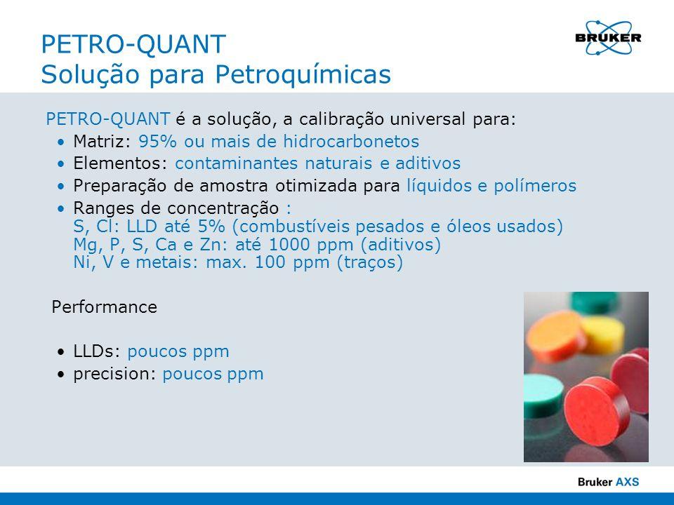PETRO-QUANT Solução para Petroquímicas PETRO-QUANT é a solução, a calibração universal para: Matriz: 95% ou mais de hidrocarbonetos Elementos: contami