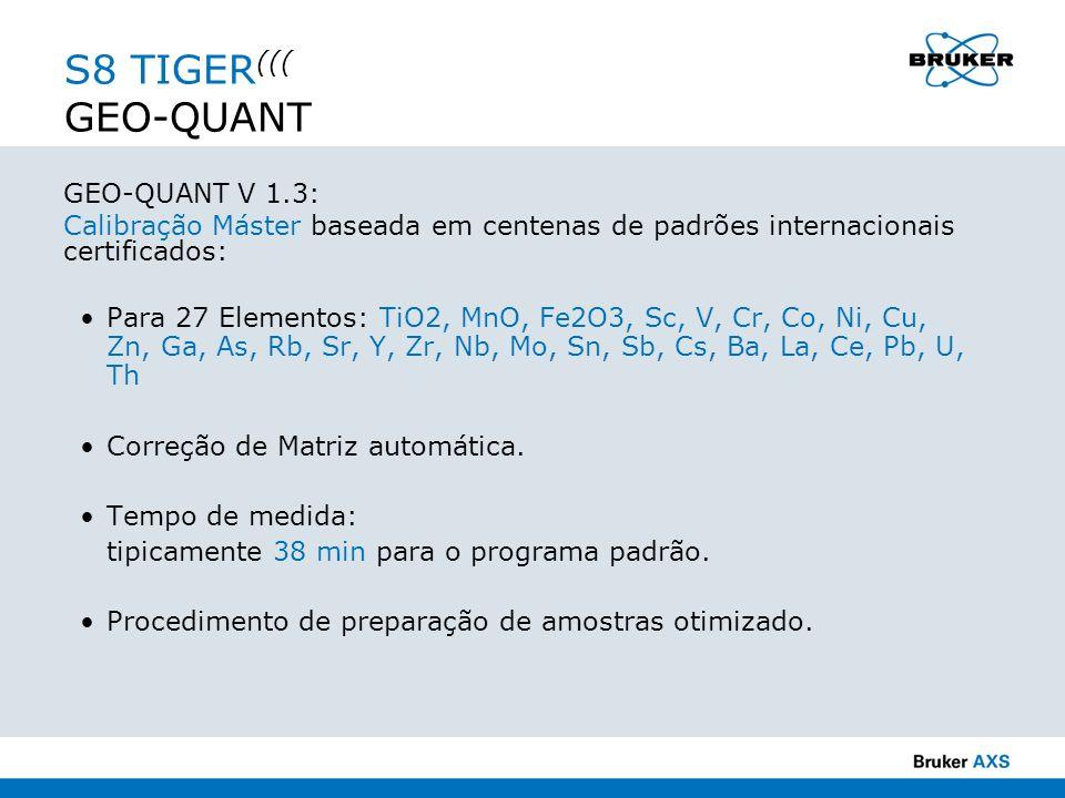 GEO-QUANT V 1.3: Calibração Máster baseada em centenas de padrões internacionais certificados: Para 27 Elementos: TiO2, MnO, Fe2O3, Sc, V, Cr, Co, Ni,
