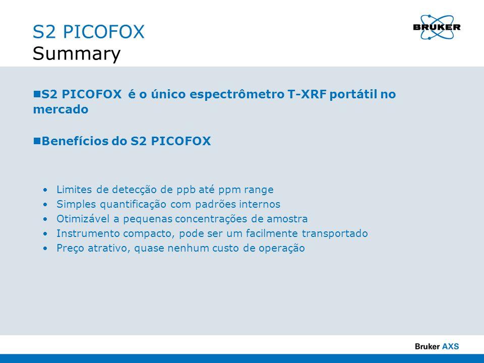 S2 PICOFOX Summary S2 PICOFOX é o único espectrômetro T-XRF portátil no mercado Benefícios do S2 PICOFOX Limites de detecção de ppb até ppm range Simp