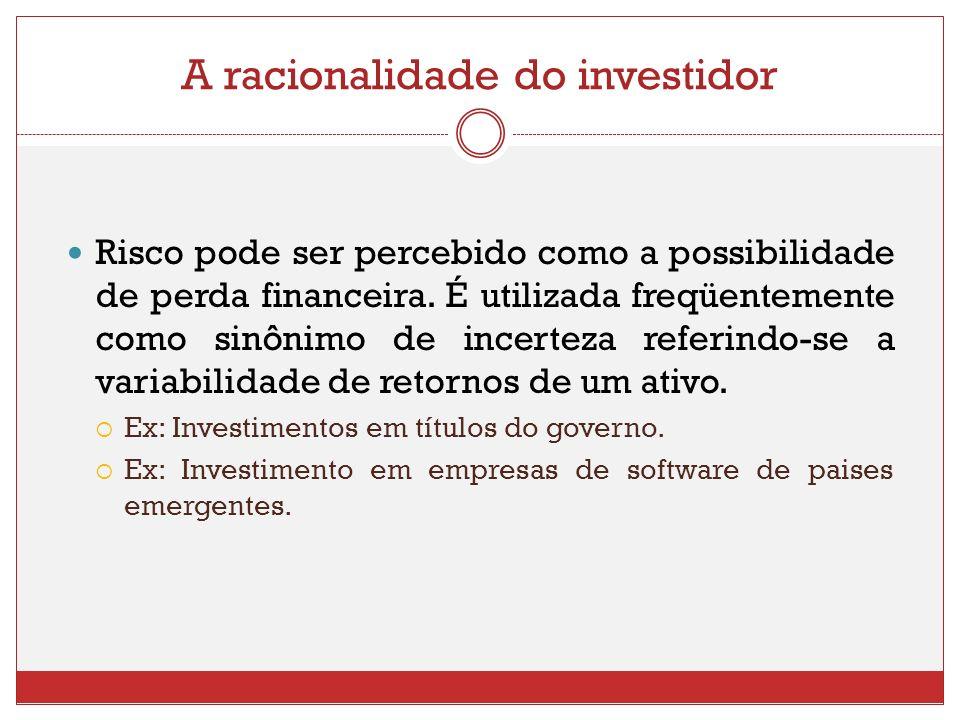 A racionalidade do investidor Risco pode ser percebido como a possibilidade de perda financeira. É utilizada freqüentemente como sinônimo de incerteza
