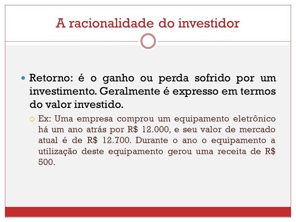 A racionalidade do investidor Retorno: é o ganho ou perda sofrido por um investimento. Geralmente é expresso em termos do valor investido. Ex: Uma emp