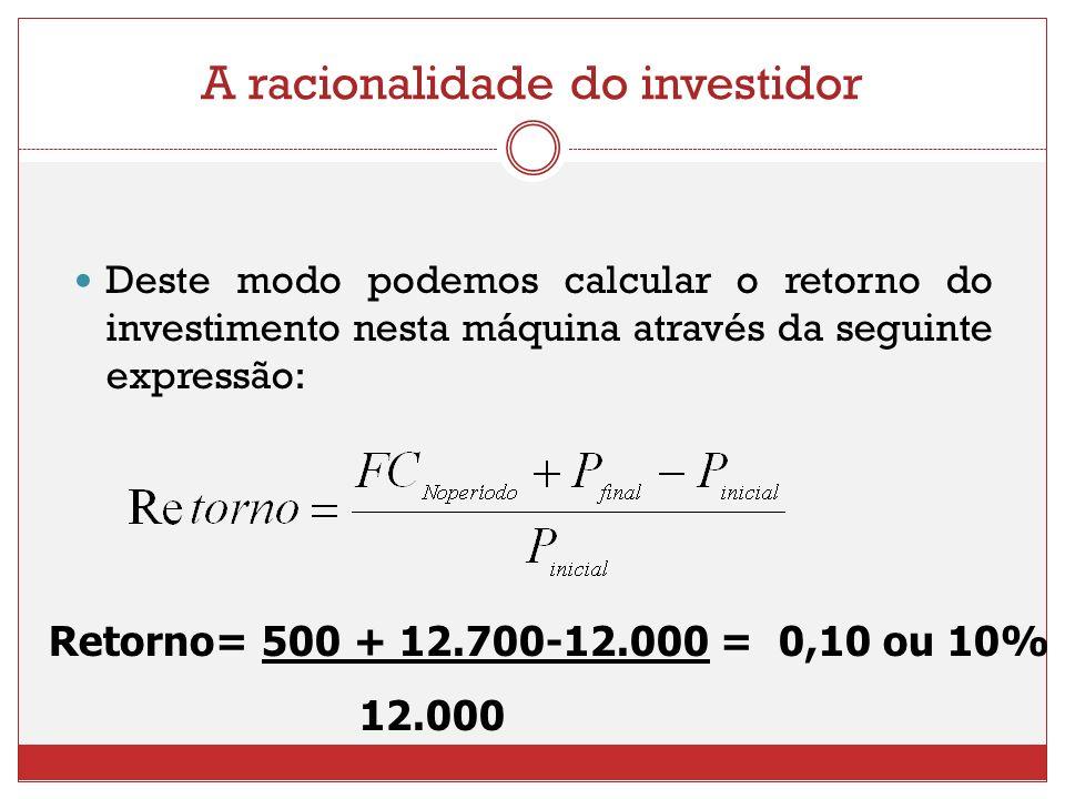 A racionalidade do investidor Deste modo podemos calcular o retorno do investimento nesta máquina através da seguinte expressão: Retorno= 500 + 12.700