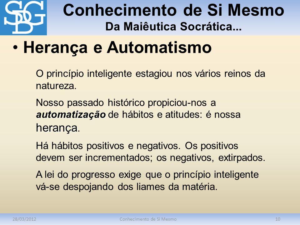 Conhecimento de Si Mesmo Da Maiêutica Socrática... 28/03/2012Conhecimento de Si Mesmo10 O princípio inteligente estagiou nos vários reinos da natureza