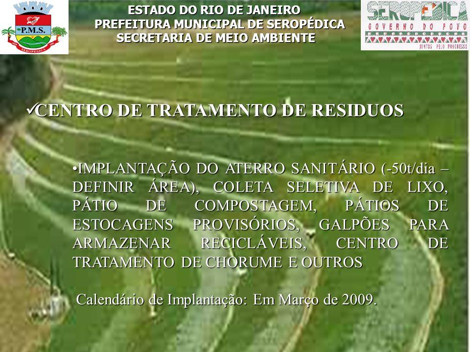 ESTADO DO RIO DE JANEIRO PREFEITURA MUNICIPAL DE SEROPÉDICA SECRETARIA DE MEIO AMBIENTE CENTRO DE TRATAMENTO DE RESIDUOS CENTRO DE TRATAMENTO DE RESID