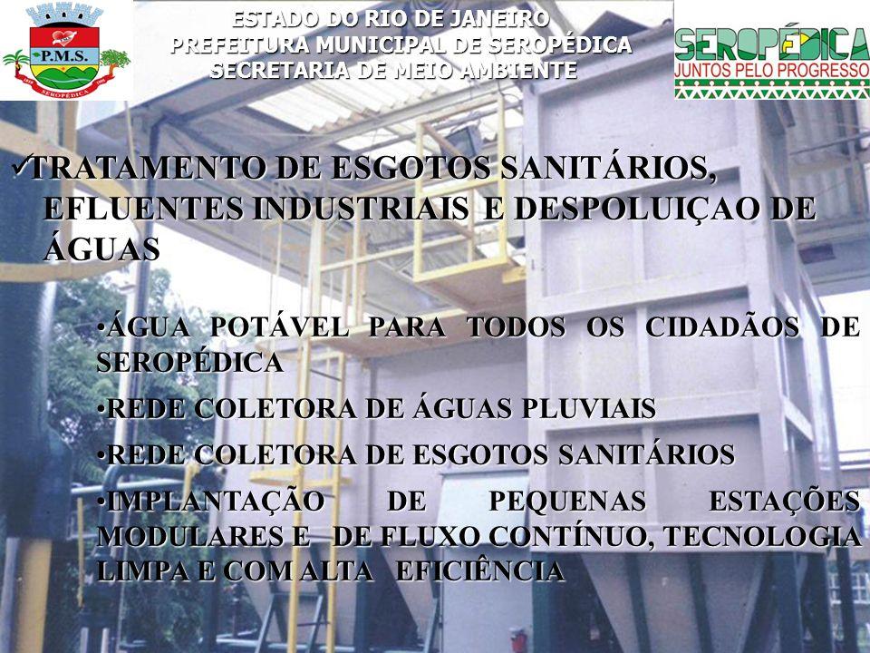 ESTADO DO RIO DE JANEIRO PREFEITURA MUNICIPAL DE SEROPÉDICA SECRETARIA DE MEIO AMBIENTE TRATAMENTO DE ESGOTOS SANITÁRIOS, TRATAMENTO DE ESGOTOS SANITÁ
