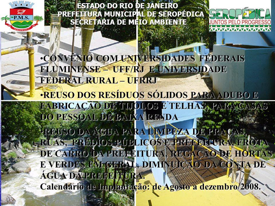 ESTADO DO RIO DE JANEIRO PREFEITURA MUNICIPAL DE SEROPÉDICA SECRETARIA DE MEIO AMBIENTE CONVÊNIO COM UNIVERSIDADES FEDERAIS FLUMINENSE – UFF/RJ E UNIV