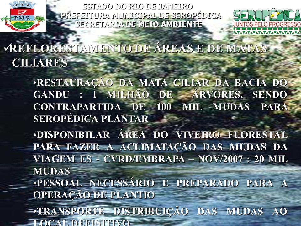ESTADO DO RIO DE JANEIRO PREFEITURA MUNICIPAL DE SEROPÉDICA SECRETARIA DE MEIO AMBIENTE REFLORESTAMENTO DE ÁREAS E DE MATAS REFLORESTAMENTO DE ÁREAS E