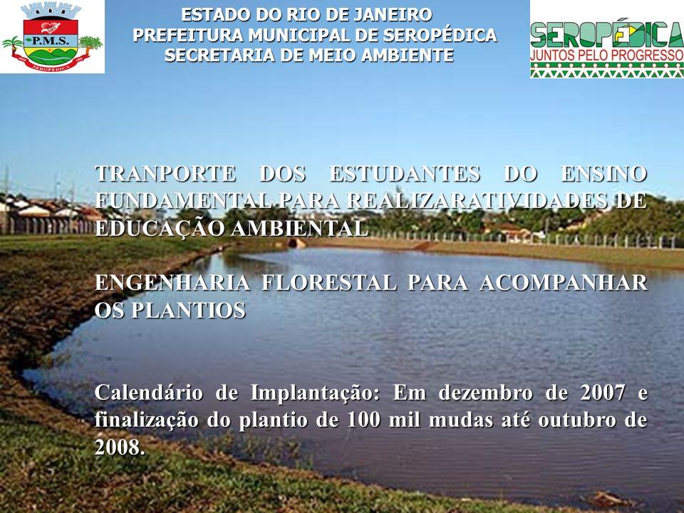ESTADO DO RIO DE JANEIRO PREFEITURA MUNICIPAL DE SEROPÉDICA SECRETARIA DE MEIO AMBIENTE TRANPORTE DOS ESTUDANTES DO ENSINO FUNDAMENTAL PARA REALIZARAT