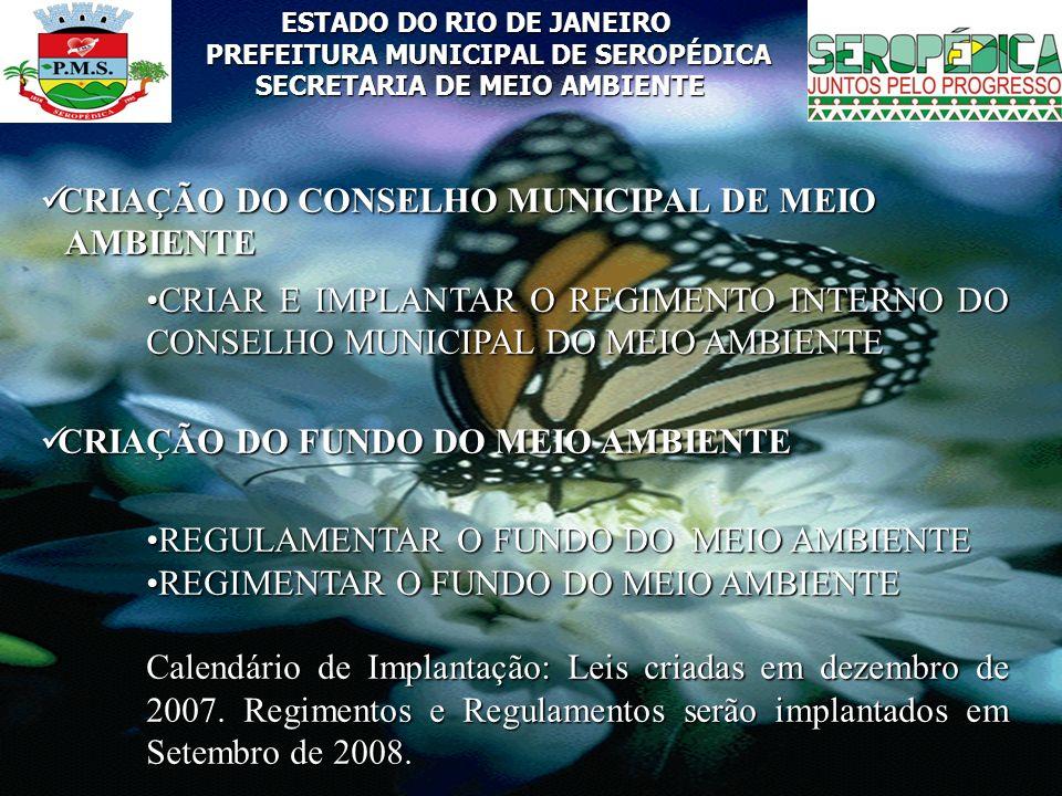 ESTADO DO RIO DE JANEIRO PREFEITURA MUNICIPAL DE SEROPÉDICA SECRETARIA DE MEIO AMBIENTE CRIAÇÃO DO CONSELHO MUNICIPAL DE MEIO CRIAÇÃO DO CONSELHO MUNI