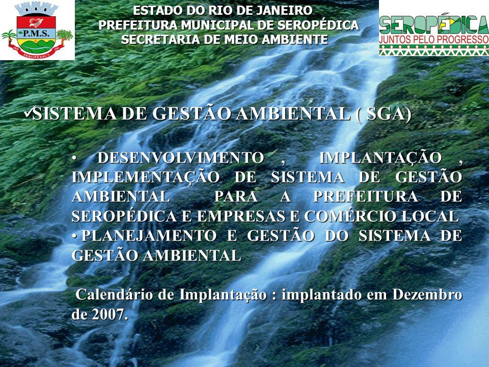 ESTADO DO RIO DE JANEIRO PREFEITURA MUNICIPAL DE SEROPÉDICA SECRETARIA DE MEIO AMBIENTE SISTEMA DE GESTÃO AMBIENTAL ( SGA) SISTEMA DE GESTÃO AMBIENTAL