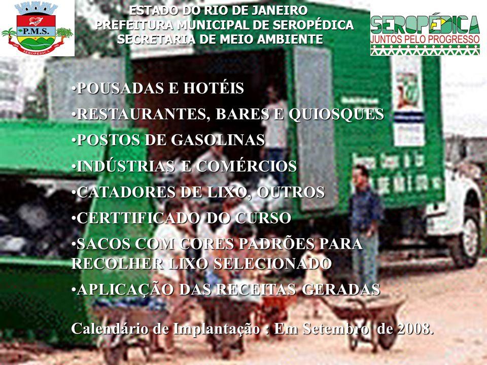ESTADO DO RIO DE JANEIRO PREFEITURA MUNICIPAL DE SEROPÉDICA SECRETARIA DE MEIO AMBIENTE POUSADAS E HOTÉISPOUSADAS E HOTÉIS RESTAURANTES, BARES E QUIOS