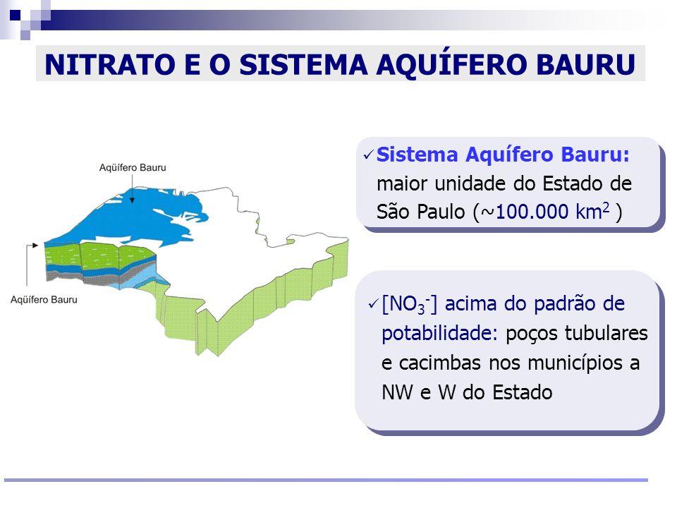 Reunião Conselho Científico de Pesquisa Ambiental Agosto/2009 NITRATO E O SISTEMA AQUÍFERO BAURU [NO 3 - ] acima do padrão de potabilidade: poços tubu