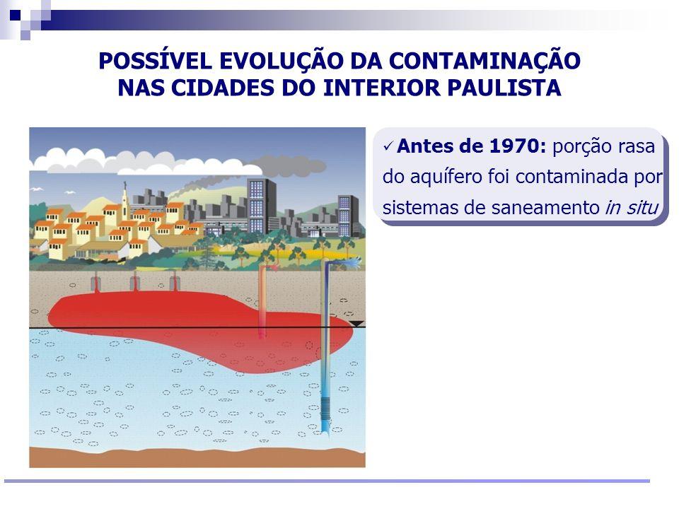 Reunião Conselho Científico de Pesquisa Ambiental Agosto/2009 POSSÍVEL EVOLUÇÃO DA CONTAMINAÇÃO NAS CIDADES DO INTERIOR PAULISTA Antes de 1970: porção