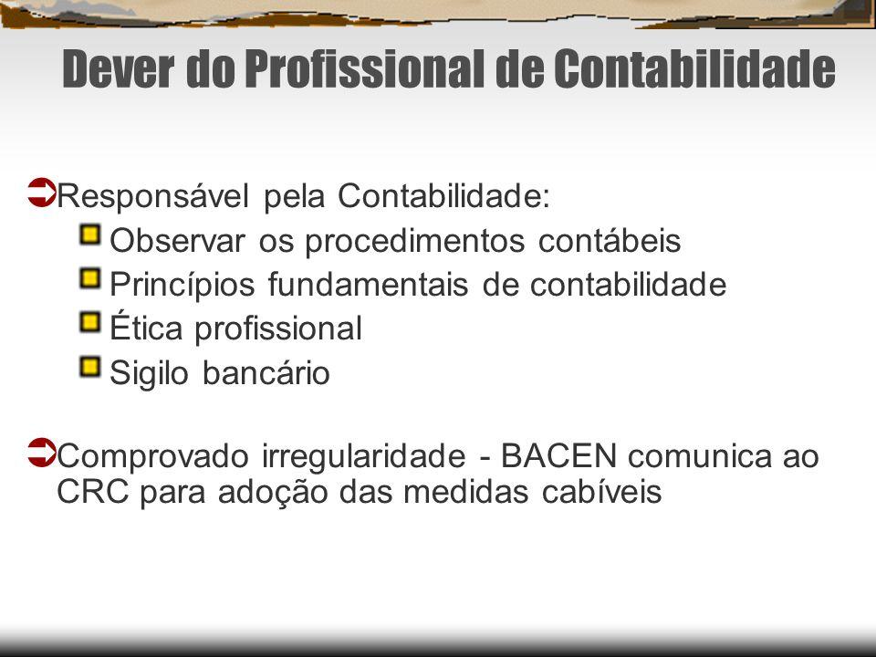 Dever do Profissional de Contabilidade Responsável pela Contabilidade: Observar os procedimentos contábeis Princípios fundamentais de contabilidade Ét