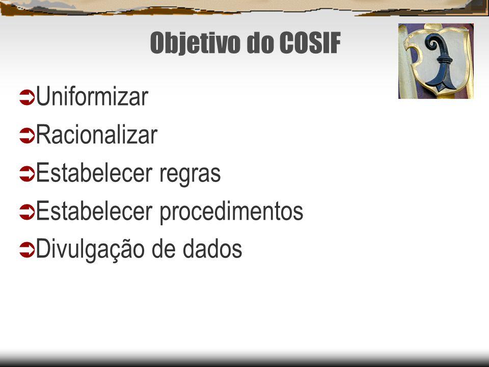 Objetivo do COSIF Uniformizar Racionalizar Estabelecer regras Estabelecer procedimentos Divulgação de dados