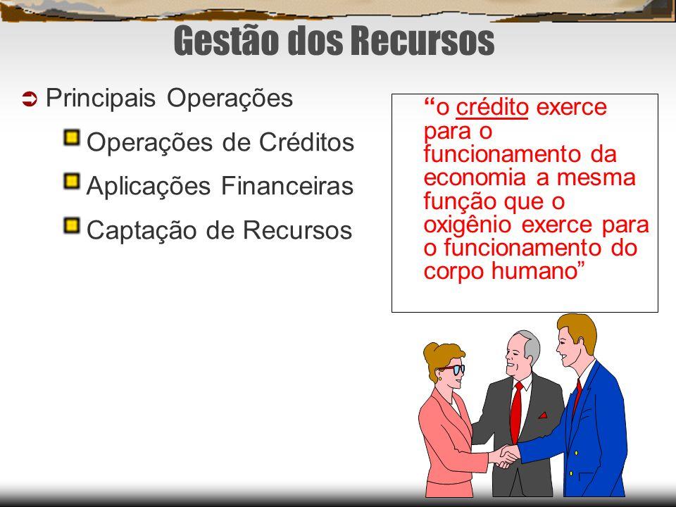Gestão dos Recursos Principais Operações Operações de Créditos Aplicações Financeiras Captação de Recursos o crédito exerce para o funcionamento da ec