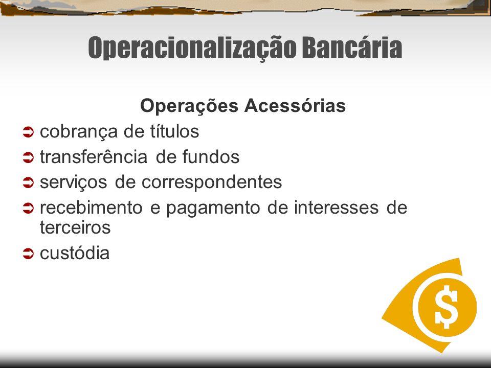 Operacionalização Bancária Operações Acessórias cobrança de títulos transferência de fundos serviços de correspondentes recebimento e pagamento de int