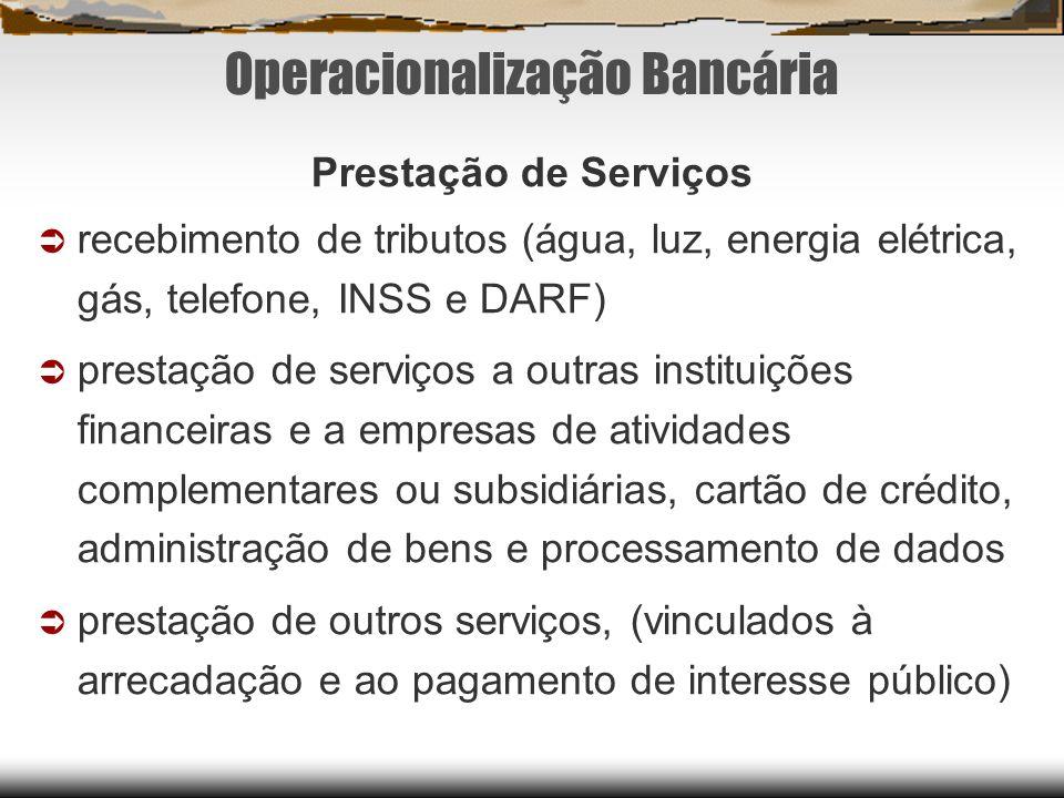 Operacionalização Bancária Prestação de Serviços recebimento de tributos (água, luz, energia elétrica, gás, telefone, INSS e DARF) prestação de serviç