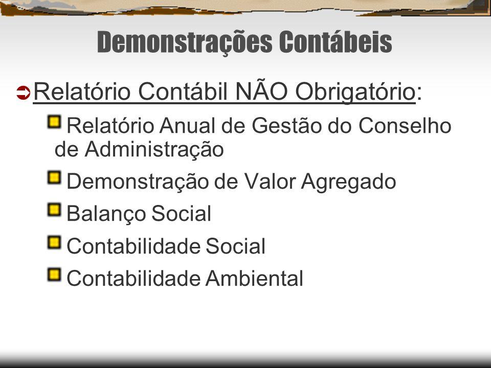 Demonstrações Contábeis Relatório Contábil NÃO Obrigatório: Relatório Anual de Gestão do Conselho de Administração Demonstração de Valor Agregado Bala