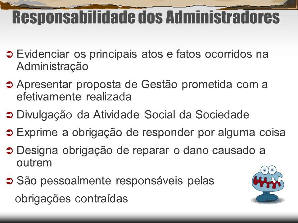 Responsabilidade dos Administradores Evidenciar os principais atos e fatos ocorridos na Administração Apresentar proposta de Gestão prometida com a ef
