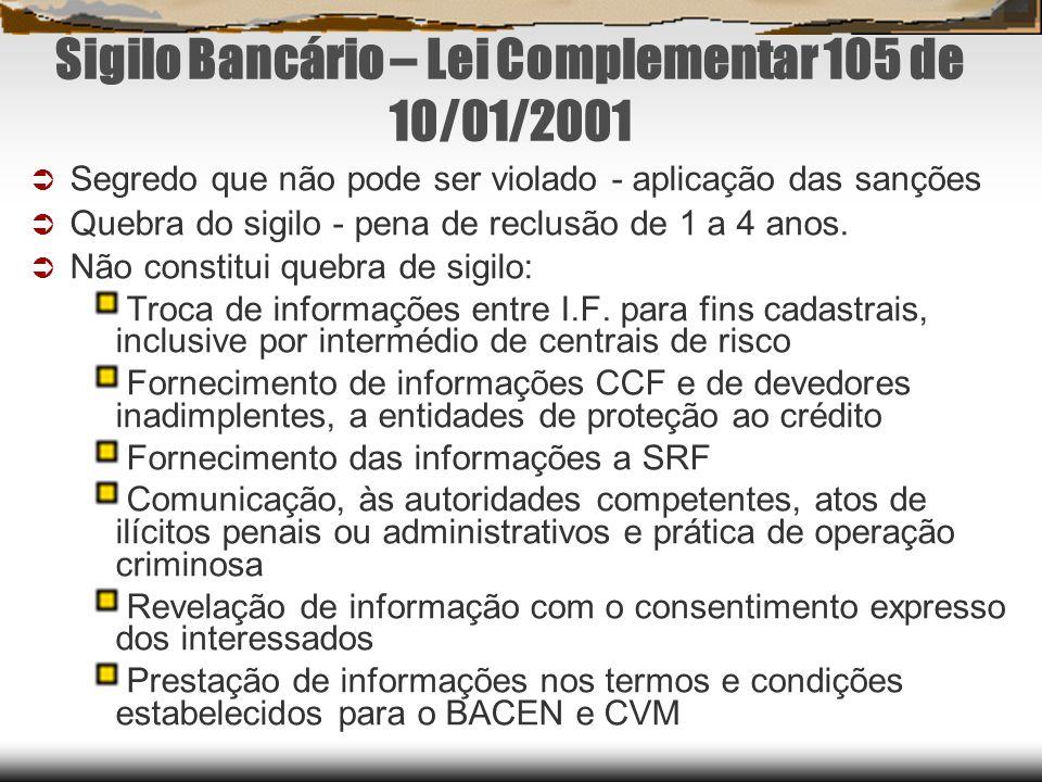 Sigilo Bancário – Lei Complementar 105 de 10/01/2001 Segredo que não pode ser violado - aplicação das sanções Quebra do sigilo - pena de reclusão de 1