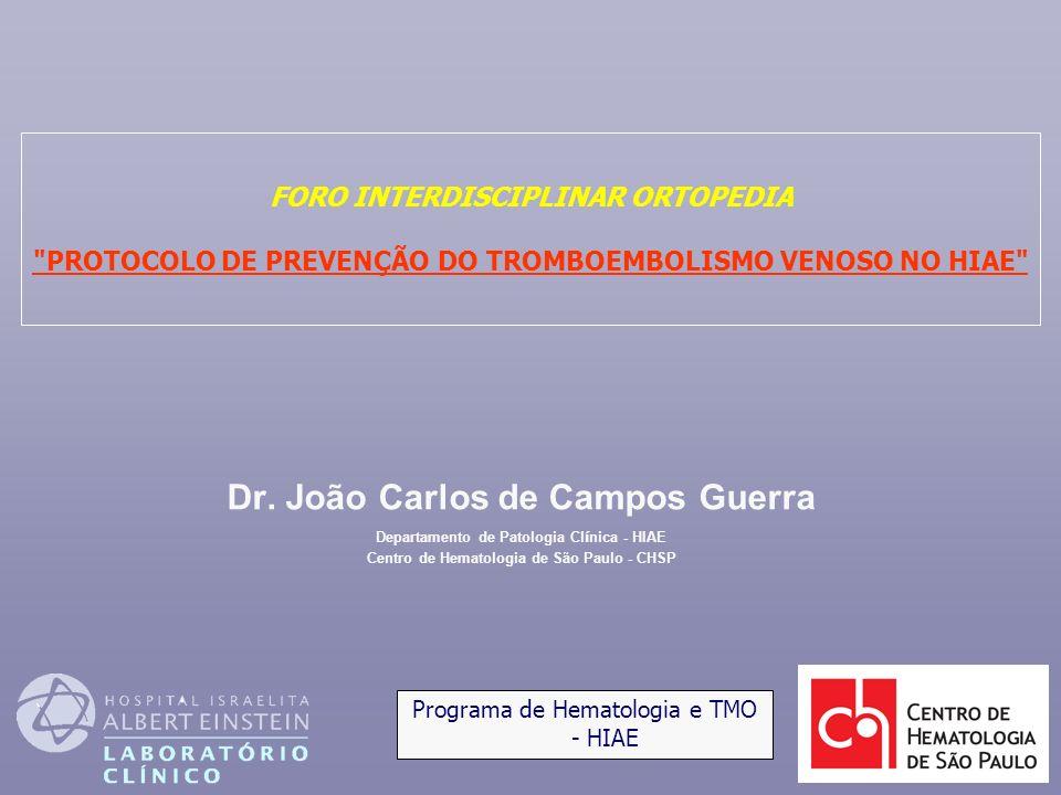 Dr. João Carlos de Campos Guerra Departamento de Patologia Cl í nica - HIAE Centro de Hematologia de São Paulo - CHSP FORO INTERDISCIPLINAR ORTOPEDIA
